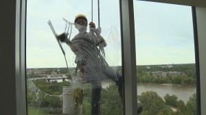 Keeping museum's  glass panes clean a tall order