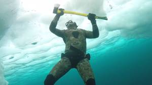 Ontario freediver uses axe to escape out of the ice in Georgian Bay
