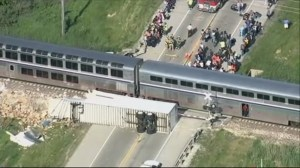 RAW: Amtrak train collides with tractor trailer