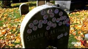Midterm Elections: Voters place their 'I Voted' stickers on Susan B Anthony's headstone