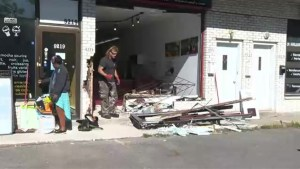 Van rams into east-end catering business destroying storefront