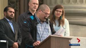 Dozens of Edmontonians gather at Alberta legislature Saturday night to rally against hate