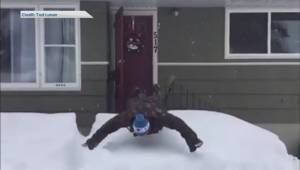 Swan dive into the snow