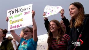 Alberta students stage walkout in protest of amendments to Bill 24 (01:53)