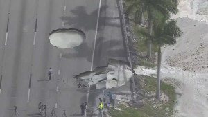 Two massive sinkholes force closure of turnpike in Florida