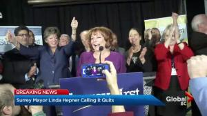 Surrey Mayor Linda Hepner won't seek re-election