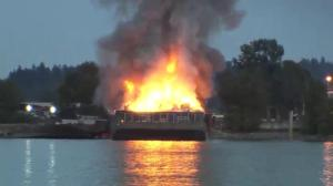 Fire breaks out yet again on recycling barge in Surrey