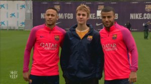 Justin Bieber spent the day playing soccer with stars Neymar, Rafinha
