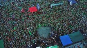 Abortion rights campaigners flood the streets of Buenos Aires for election-year protest