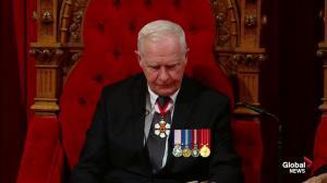 Gov. Gen. David Johnston announces Liberal government will legalize marijuana during throne speech