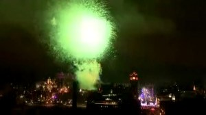Edinburgh rings in the New Year  over the city center and Edinburgh Castle