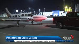 Plane moved to secure location