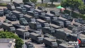 Hundreds of Chinese paramilitary spotted near Hong Kong