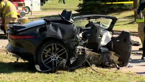 Two people rushed to hospital after single-vehicle crash in