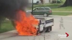 Truck bursts into flames, explosion startles Kelowna firefighter