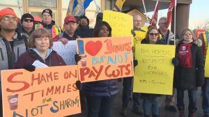 Tim Hortons controversy sparks protests over benefit cuts and unpaid breaks