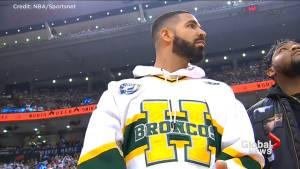 Toronto rapper Drake sports Humboldt Broncos jersey in support at Raptors playoff game