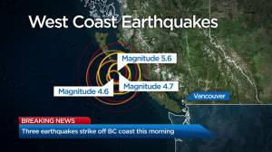 Several earthquakes hit off B.C. coast near Bella Bella