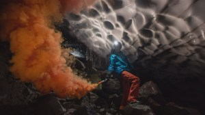 Calgarians explore caves under the glacier in the crater of Mount St. Helens