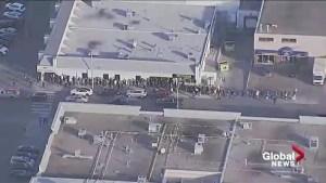 Chopper video shows lineups outside Edmonton, St. Albert cannabis stores