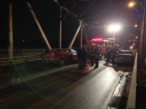 Collision on Louise Bridge sends two to hospital