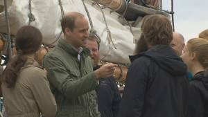 Prince William and Kate put to work on tall ship Pacific Grace, come away impressed by crew's beards