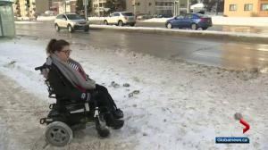 Woman furious with city's snow clearing after being stuck at bus stop
