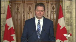 Scheer accepts Trudeau's Aga Khan 'mistake,' must set higher standard (01:01)