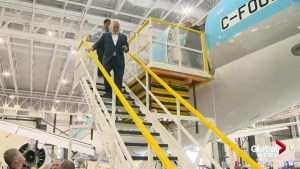Premier Couillard visits Bombardier plant in Mirabel