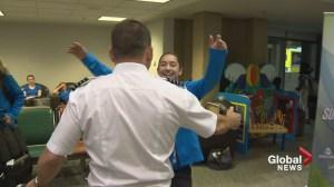 WestJet pilot surprises young daughters ahead of Canada Summer Games