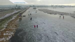 Drone captures skating day on Surrey pond