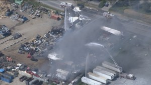Crews battle fire at Abbotsford auto recycler