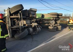 Dump truck crashes in Selwyn Township