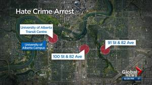 Man known to police charged after 3 'hate-motivated' attacks on women in Edmonton (02:21)