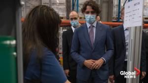 Trudeau visits Pfizer COVID-19 vaccine manufacturing site in Puurs, Belgium (03:23)