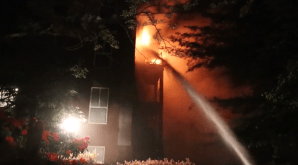 Dozens evacuated from Surrey apartment building amid 3-alarm fire (00:35)