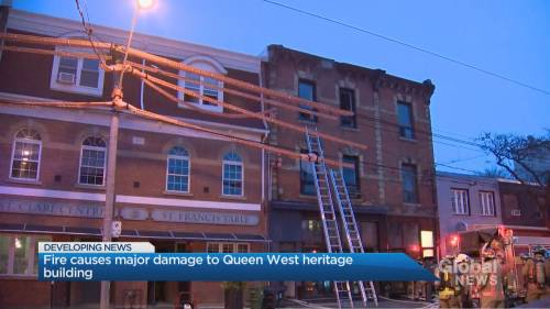 Toronto firefighters battle 3-alarm fire at Queen West building