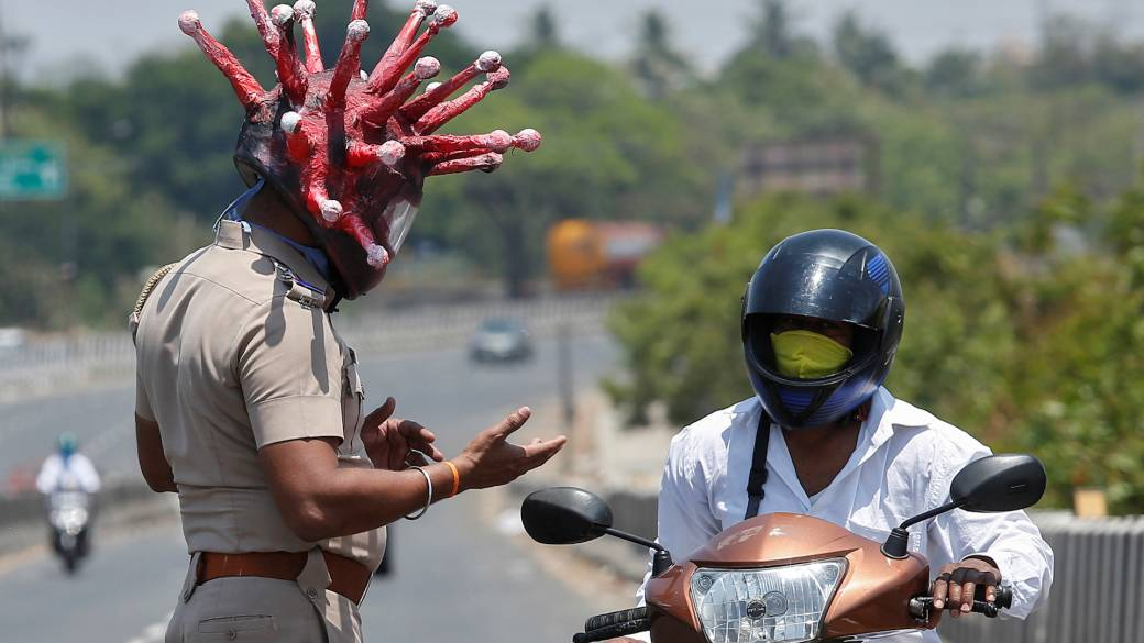 Corona cops' wearing spiky 'virus' helmets during India's lockdown -  National | Globalnews.ca