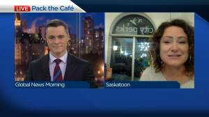 Saskatoon coffee shop packing café with food bank donations (03:37)