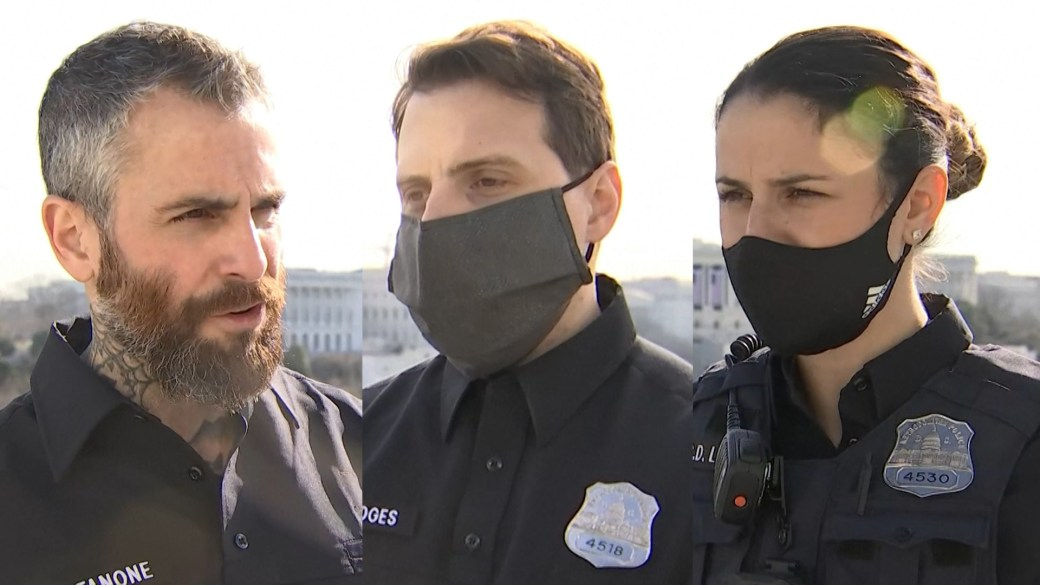 """Click to play video 'US Capitol riot: DC officers recount being beaten during """"horrifying"""" attack'"""