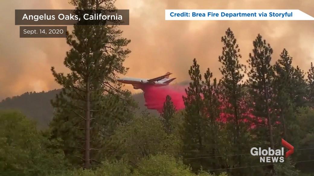Click to play video: 'Aerial footage shows El Dorado Fire spreading toward Angelus Oaks, Calif.'