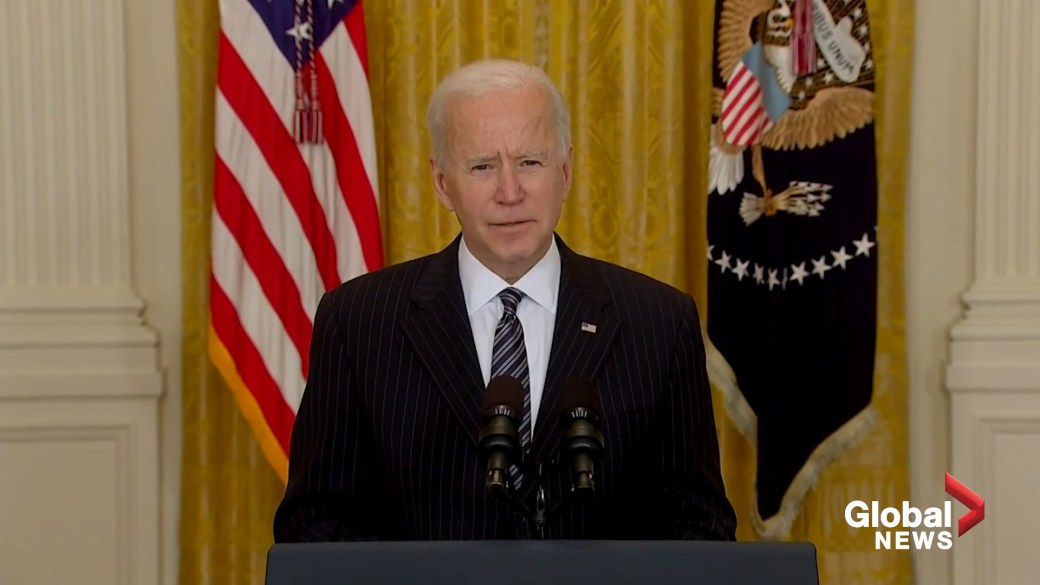 Click to play video: 'Biden announces U.S. has administered 100M COVID-19 vaccine doses in only 58 days'