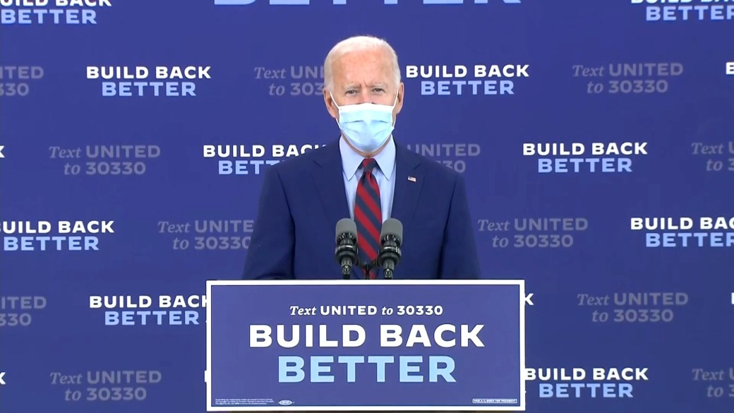 Click to play video 'Coronavirus: Biden says he's glad to see Trump recording videos, asks president to support masks'