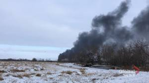 Smoke from the CP train derailment in Saskatchewan