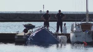 Partially sunken boat found at Cobourg Marina