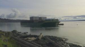 Barge runs aground on Quadra Island