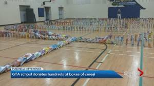 Small private school collects 1,000+ cereal boxes to feed the need in Durham region (02:40)