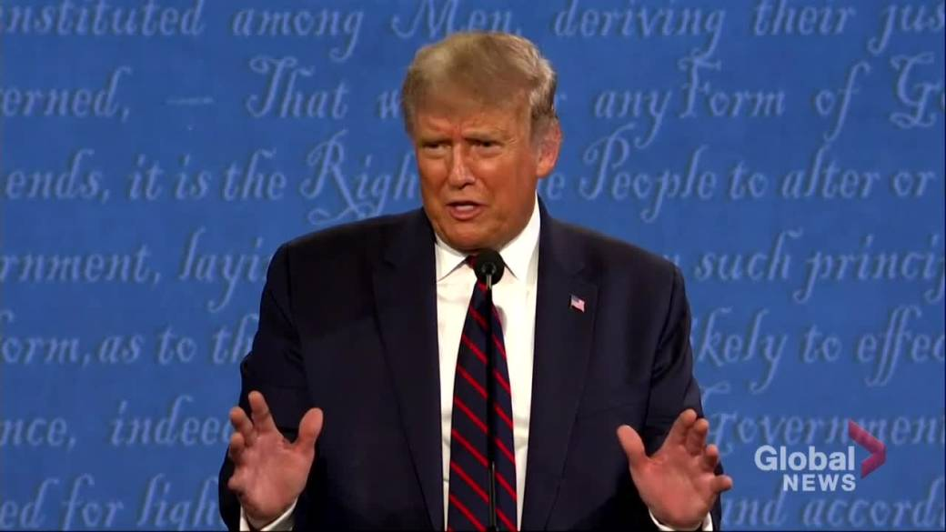 Click to play video 'US Presidential debate: Trump calls for supporters to 'watch' polls; Biden says he'll accept outcome of election'