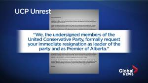 Premier Jason Kenney faces growing unrest inside the UCP with letter calling for his resignation (02:08)