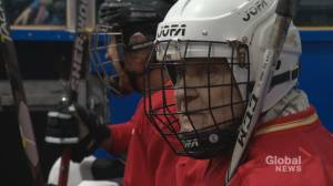 Calgary's oldest registered hockey player celebrates 90th birthday on ice